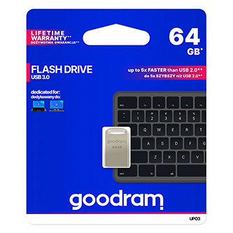 Goodram USB flash disk, USB 3.0 (3.2 Gen 1), 64GB, UPO3, stříbrný, UPO3-0640S0R11, USB A, s poutkem