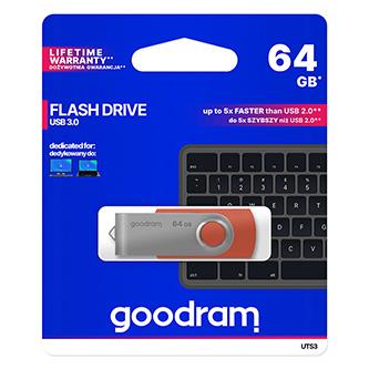Goodram USB flash disk, USB 3.0 (3.2 Gen 1), 64GB, UTS3, červený, UTS3-0640R0R11, USB A, s otočnou krytkou