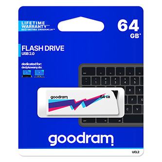 Goodram USB flash disk, 2.0, 64GB, UCL2, bílý, UCL2-0640W0R11, podpora OS Win 7