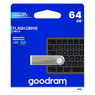 Goodram USB flash disk, USB 2.0, 64GB, UUN2, stříbrný, UUN2-0640S0R11, USB A, s poutkem