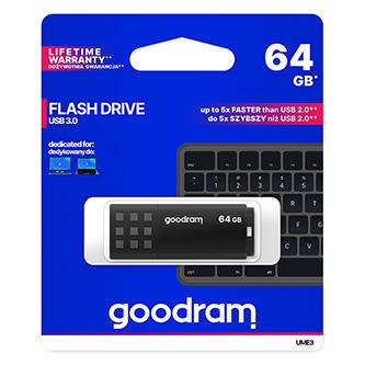 Goodram USB flash disk, USB 3.0 (3.2 Gen 1), 64GB, UME3, černý, UME3-0640K0R11, USB A, s krytkou