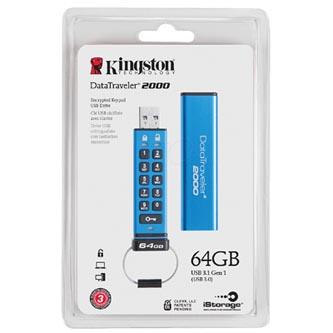 Kingston USB flash disk, 3.0, 64GB, Data Traveler 2000, modrý, DT2000/64GB