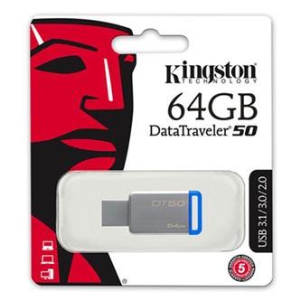 Kingston USB flash disk, 3.0, 64GB, DataTraveler DT50, modrý, DT50/64GB