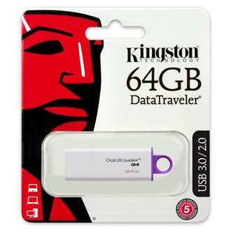 Kingston USB flash disk, 3.0, 64GB, Data Traveler DTI-G4, fialová, DTIG4/64GB
