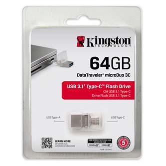 Kingston USB flash disk OTG, USB 3.0 (3.2 Gen 1), 64GB, DataTraveler microDuo 3C, stříbrný, DTDUO3C/64GB, USB A / USB C, s krytkou