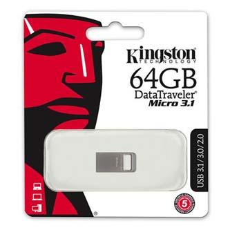 Kingston USB flash disk, 3.1, 64GB, DataTraveler Micro, stříbrný, DTMC3/64GB