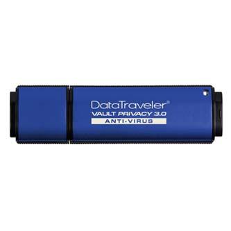 Kingston USB flash disk, 3.0, 64GB, Data Traveler Vault Privacy Anti-Virus, modrý, DTVP30AV/64GB