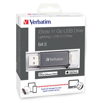 Verbatim USB flash disk OTG, 3.0/Lightning, 64GB, iStore,N,Go Lightning, černý, 49301