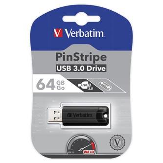 Verbatim USB flash disk, 3.0, 64GB, Store,N,Go PinStripe, černý, 49318
