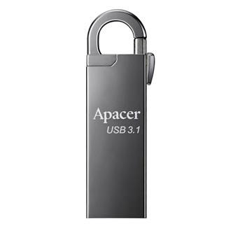 Apacer USB flash disk, USB 3.0 (3.2 Gen 1), 128GB, AH15A, stříbrný, AP128GAH15AA-1, USB A, s karabinkou