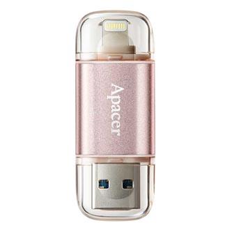 Apacer USB flash disk OTG, 3.1/Lightning, 128GB, AH190, růžový, AP128GAH190H-1, s krytkou