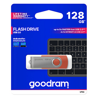 Goodram USB flash disk, 3.0, 128GB, UTS3, červená, UTS3-1280R0R11