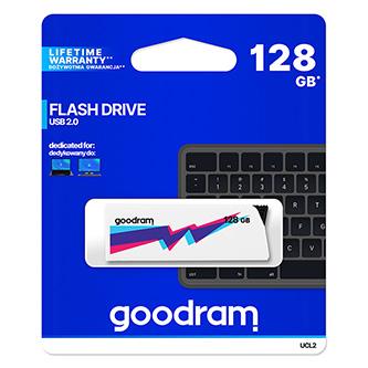 Goodram USB flash disk, 2.0, 128GB, UCL2, bílý, UCL2-1280W0R11, podpora OS Win 7