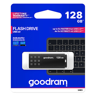 Goodram USB flash disk, USB 3.0 (3.2 Gen 1), 128GB, UME3, černý, UME3-1280K0R11, USB A, s krytkou
