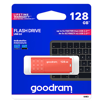 Goodram USB flash disk, USB 3.0 (3.2 Gen 1), 128GB, UME3, oranžový, UME3-1280O0R11, USB A, s krytkou