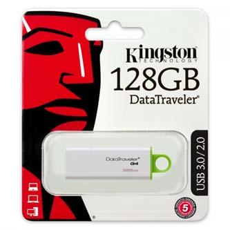 Kingston USB flash disk, USB 3.0 (USB 3.2 Gen 1), 128GB, Data Traveler DTI-G4, zelená, DTIG4/128GB