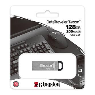 Kingston USB flash disk, USB 3.0 (3.2 Gen 1), 128GB, DataTraveler(R) Kyson, stříbrný, DTKN/128GB, s poutkem