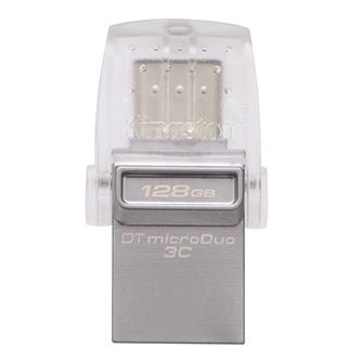 Kingston USB flash disk OTG, USB 3.0 (3.2 Gen 1), 128GB, DataTraveler microDuo 3C, stříbrný, DTDUO3C/128GB, USB A / USB C, s krytk