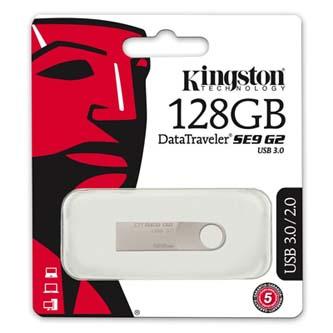 Kingston USB flash disk, 3.0, 128GB, Data Traveler SE9 G2, stříbrný, DTSE9G2/128GB, kovový, malých rozmeru