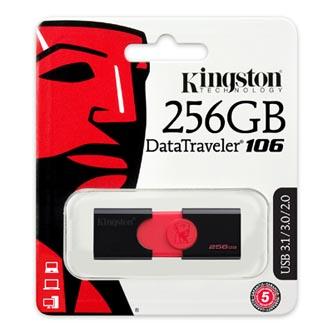 Kingston USB flash disk, 3.1, 256GB, Data Traveler 106, černo-červený, červená, DT106/256GB, vysouvací konektor