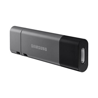 Samsung USB flash disk, USB 3.0 (3.2 Gen 1), 256GB, DUO Plus, šedý, MUF-256DB/EU, USB A / USB C, odnímatelná redukce na USB A
