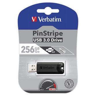 Verbatim USB flash disk, USB 3.0 (3.2 Gen 1), 256GB, PinStripe, Store N Go, černý, 49320, USB A, s výsuvným konektorem