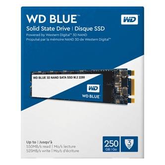 SSD Western Digital M.2 SATA III, M.2 SATA III, 250GB, GB, WD Blue 3D NAND, WDS250G2B0B 525 MB/s,550 MB/s