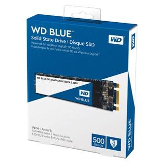 SSD Western Digital M.2 SATA III, M.2 SATA III, 500GB, GB, WD Blue 3D NAND, WDS500G2B0B 500 MB/s,540 MB/s
