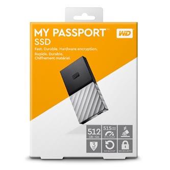 """SSD Western Digital 2.5"""", USB C (3.1), 512GB, GB, My Passport SSD, WDBK3E5120PSL-WESN černý"""