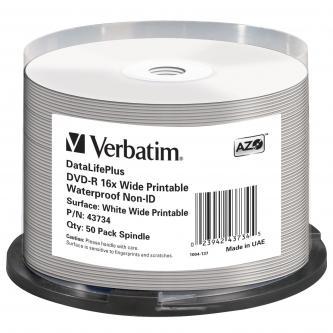Verbatim DVD-R, 43734, Waterproof, 50-pack, 4.7GB, 16x, 12cm, General, Standard, cake box, Wide Printable, pro archivaci dat