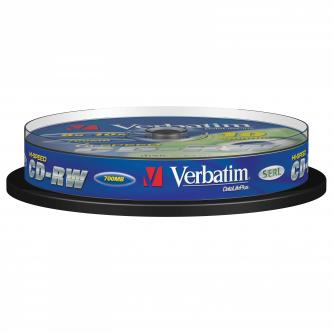 Verbatim CD-RW, 43480, DataLife PLUS, 10-pack, 700MB, Advanced Serl, 8-12x, 80min., 12cm, Scratch Resistant, bez možnosti potisku,
