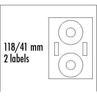 Logo etikety na CD 118/41mm, A4, matné, bílé, 2 etikety, 2 proužky, 140g/m2, baleno po 25 ks, pro inkoustové a laserové tiskárny