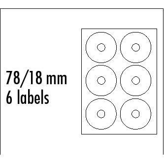 Logo etikety na CD 78/18mm, A4, matné, bílé, 6 etiket, 140g/m2, baleno po 10 ks, pro inkoustové a laserové tiskárny