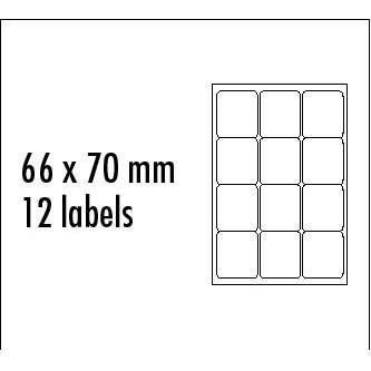 Logo etikety 66mm x 70mm, A4, matné, modré, 12 etiket, baleno po 25 ks, pro inkoustové a laserové tiskárny