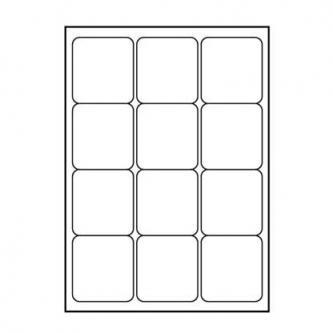 Logo etikety 66mm x 70mm, A4, matné, bílé, 12 etiket, 140g/m2, baleno po 10 ks, pro inkoustové a laserové tiskárny