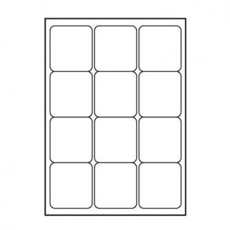 Logo etikety 66mm x 70mm, A4, matné, bílé, 12 etiket, 140g/m2, baleno po 25 ks, pro inkoustové a laserové tiskárny