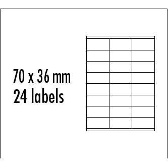 Logo etikety 70mm x 36mm, A4, matné, žluté, 24 etikety, baleno po 10 ks, pro inkoustové a laserové tiskárny