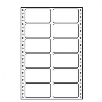 Tabelační etikety 89 x 48.8 mm, A4, dvouřadé, bílé, 12 etiket, baleno po 25 ks, pro jehličkové tiskárny