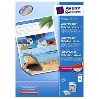 Avery Zweckform Premium Laser Paper, foto papír, vysoce lesklý, bílý, A4, 200 g/m2, 100 ks, 2798, laserový