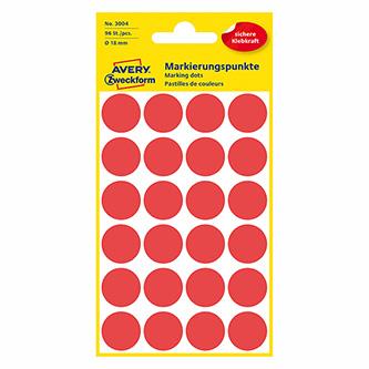 Avery Zweckform etikety 18mm, červené, 24 etiket, značkovací, baleno po 4 ks, 3004, pro ruční popis