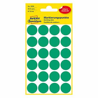 Avery Zweckform etikety 18mm, zelené, 24 etiket, značkovací, baleno po 4 ks, 3006, pro ruční popis