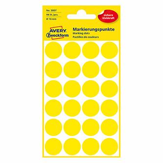 Avery Zweckform etikety 18mm, žluté, 24 etiket, značkovací, baleno po 4 ks, 3007, pro ruční popis