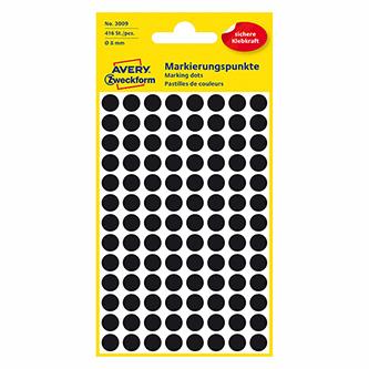Avery Zweckform etikety 8mm, černé, 104 etiket, značkovací, baleno po 4 ks, 3009, pro ruční popis