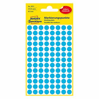 Avery Zweckform etikety 8mm, modré, 104 etiket, značkovací, baleno po 4 ks, 3011, pro ruční popis