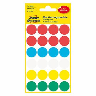 Avery Zweckform etikety 18mm, barevné, 24 etiket, značkovací, baleno po 4 ks, 3089, pro ruční popis
