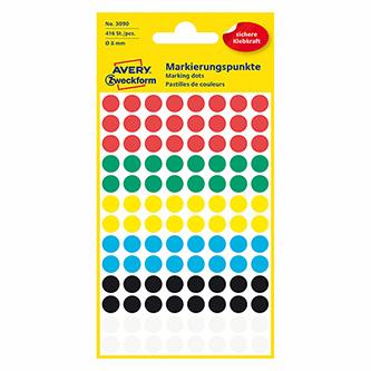 Avery Zweckform etikety 8mm, barevné, 104 etiket, značkovací, snímatelné, baleno po 4 ks, 3090, pro ruční popis