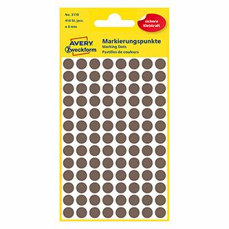 Avery Zweckform etikety 8mm, hnědošedé, 104 etiket, značkovací, baleno po 4 ks, 3110, pro ruční popis