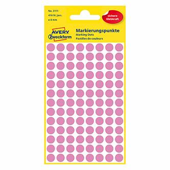 Avery Zweckform etikety 8mm, růžové, 104 etiket, značkovací, baleno po 4 ks, 3111, pro ruční popis