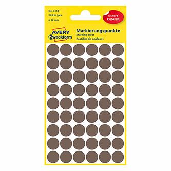 Avery Zweckform etikety 12mm, hnědošedé, 54 etiket, značkovací, baleno po 5 ks, 3113, pro ruční popis