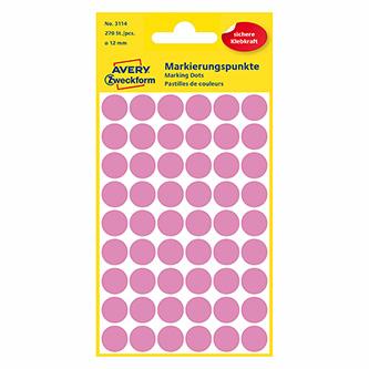 Avery Zweckform etikety 12mm, růžové, 54 etiket, značkovací, baleno po 5 ks, 3114, pro ruční popis
